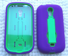 Samsung Galaxy Light SGH-T399 Phone Case WITH BUILT IN SCREEN PROTECTOR PURP/GRN