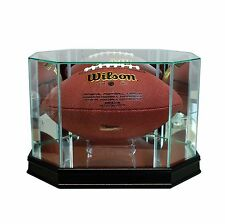 New Real Glass Octagon Football Display Case Black Sport Molding FREE SHIPPING