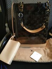 Louis Vuitton Monogram Clear Vinyl Cabas Ambre Mm Tote Handbag W/ Pouchette