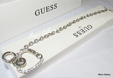 GUESS Jeans Rhinestones  Bangle  Bracelet silver  Tone Charms Heart Gift  Box