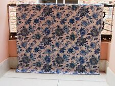 Kantha Quilt Indian Antique Cotton Handmade Blanket King Size Bed spread T.Blue
