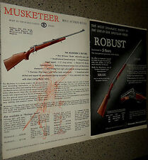 1953 Musketeer II Bolt Action Rifle & Side by Side Shotgun Ad Advertising