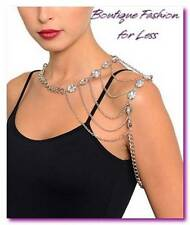 Silver Shoulder Body Chain Armor Jewelry Choker Collar Necklace Rhinestone