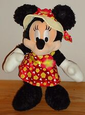 "Disney Parks MINNIE MOUSE in Flower Dress & Sun Hat Poseable 14"" plush"