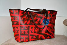 NWT $198 JONATHAN ADLER Duchess Med E/W Tote Bag Chocolate Brown & Red