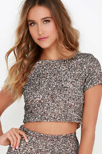 2015 NWT WOMENS BILLABONG SHOWIN OFF TOP $100 M granite cropped lined