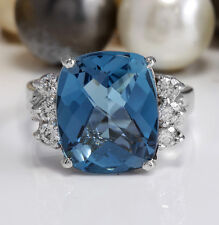 7.60 CTW Estate Natural London Blue Topaz and Diamonds in 14K White Gold Ring