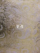 "JAKARTA LAME FABRIC  - White/Gold - 60"" WIDTH SOLD BY THE YARD LAME TISSUE"