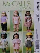 """McCall's 6526 Sewing PATTERN for 18"""" American Girl DOLL CLOTHES 6 Outfits NEW"""