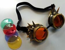 Steampunk brass Spike Goggles Cyber Goth Cosplay Victorian Vintage with 4 lens