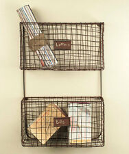 New Primitive Rusty Wire Wall Basket File Bin Cubby Letter Mail Holder Rack