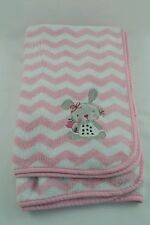 Cuddle Time Pink Bunny Rabbit Chevron White Baby Blanket Security Lovey
