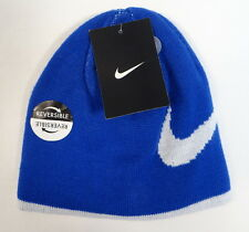 Nike Swoosh Reversible Blue & White Knit Beanie Skull Cap Youth Boys 8-20 NWT