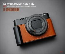 LIM'S Metal Grip Leather Half Case for Sony RX100M4 M3 M2 M5 LE-MHCRX100BR Brown