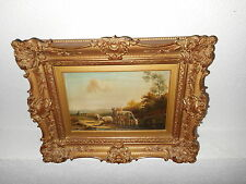 Antique oil painting,{ Cows, sheep, and there herder, is signed & dated 1885 }