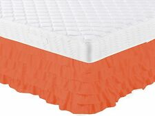 "1 RUST ORANGE GYPCY RUFFLE CASCADE WATERFALL SOLID BED SKIRT 16"" INCH DROP FULL"