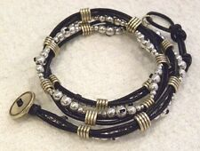 LUCKY BRAND  BRACELET, WRAP STYLE, SILVER ROUND BEADS, GOLD BARS, NWT, $45!
