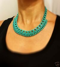 Urban Spring Turquoise Enamel Chunky Curb Chain Statement Necklace &  earrings