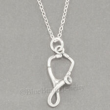 "STETHOSCOPE Charm Medical Doctor Nurse Pendant  925 STERLING SILVER 18"" Necklace"