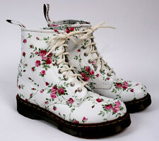 DOC DR MARTENS 1460 White Leather Floral Pink Rose 8 Eye Combat Boots Women US 6