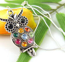 HOT Lady Fashion Charm Jewelry Colorful Owl Crystal Necklace Pendant Wholesale