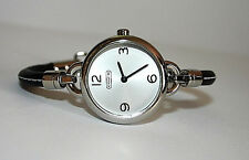 NWT Coach Women's Watch BLACK Leather & Silver Case Bangle PENNY 14501923 $248