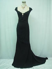 Cherlone Black Backless Long Prom Ball Gown Evening Dress UK Size 12-14