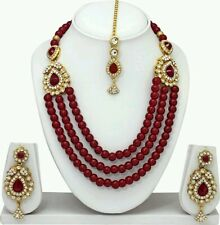 BOLLYWOOD INDIAN BRIDAL GOLD PLATED PEARL NECKLACE, EARRINGS & TIKA JEWELLRY SET