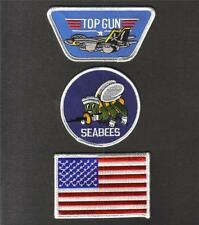TOP GUN US NAVY USN SEABEES USA Flag Sew On Iron On NOVELTY PATCH Set 3 Pcs New
