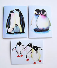 "Set of Three PENGUIN blank greetings cards with envelopes size 5.5"" x 4"""