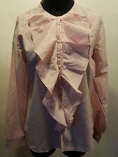 Gap  Red White Fine Pin Stripe Ruffle Front Long Sleeve Cotton Dress Blouse M