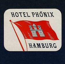 Hotel Phönix HAMBURG Germany / Flagge Flag * Old Luggage Label Kofferaufkleber