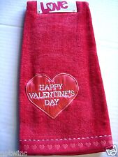 One Happy Valentine's Day Holiday Bathroom Hand Towel Cute Heart NWT