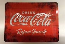 COCA COLA DRINK LOGO ADVERTISING RETRO 3D EMBOSSED GARAGE WALL DECOR METAL SIGN