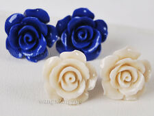 2pairs White/Blue 15mm Coral Hand Carved Flower Earrings Silver Stud AAA R69