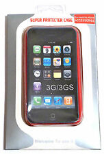 CUSTODIA RIGIDA RETRO TRASPARENTE BORDO ROSSO COVER - IPHONE 3G/3G S