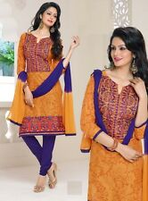 Radiant Cotton Embroidered Dress Material With Chiffon Dupatta D.NO P9236