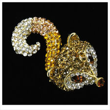 Animal Fox Tail Head Brooch Pendant Pin Jewelry 3D Brown Crystal Costume Jewelry