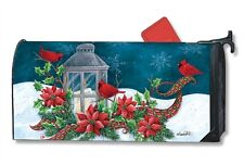 CARDINAL CHRISTMAS mailbox cover - attaches with magnets - MADE IN USA