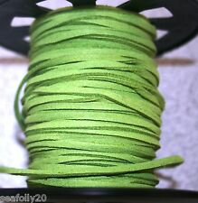 3 metres lime green Suede Cord 3x1.5mm buy more for combined postage savings