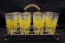 """8 Vintage 5"""" YELLOW ROSE Tumblers Glasses with gold Trim & GOLD Rack Carrier"""
