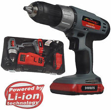 New li-on 24 volt drill + two batteries + charger 1 hour charge 3754
