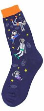 Foot Traffic Cotton Blend Floating In Space Astronaut Navy Womans Crew Socks New