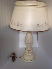 Vintage White Gold French Bouillotte Chinoisorie Tole Table Lamp Ethan Allen