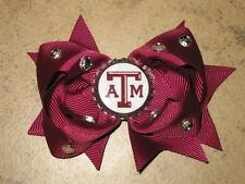 """NEW """"TEXAS A&M Aggies"""" University Girls Ribbon Hair Bow Rhinestone Clip NCAA"""