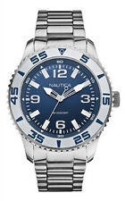 Nautica Mens Blue Dial Quartz Large Steel Case Stainless Steel Watch N11553G NEW