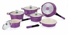 ROYALTY LINE 14PC CERAMIC COATING NON-STICK COOKWARE SET IN PURPLE – RL-ES1014C