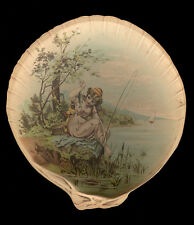 Victorian Paper Plate Girl Fishing Promotional Handout, Spelman Brothers, Donald