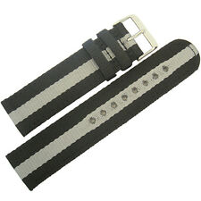 22mm Hadley-Roma MS4400 Grey Black Stripe Two-Piece Nylon MoD Watch Band Strap