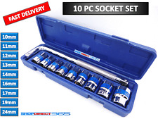 "10pc 1/2"" Drive Socket Set 10-24mm Metric Sockets With ""L"" Wrench In Box #23-26"